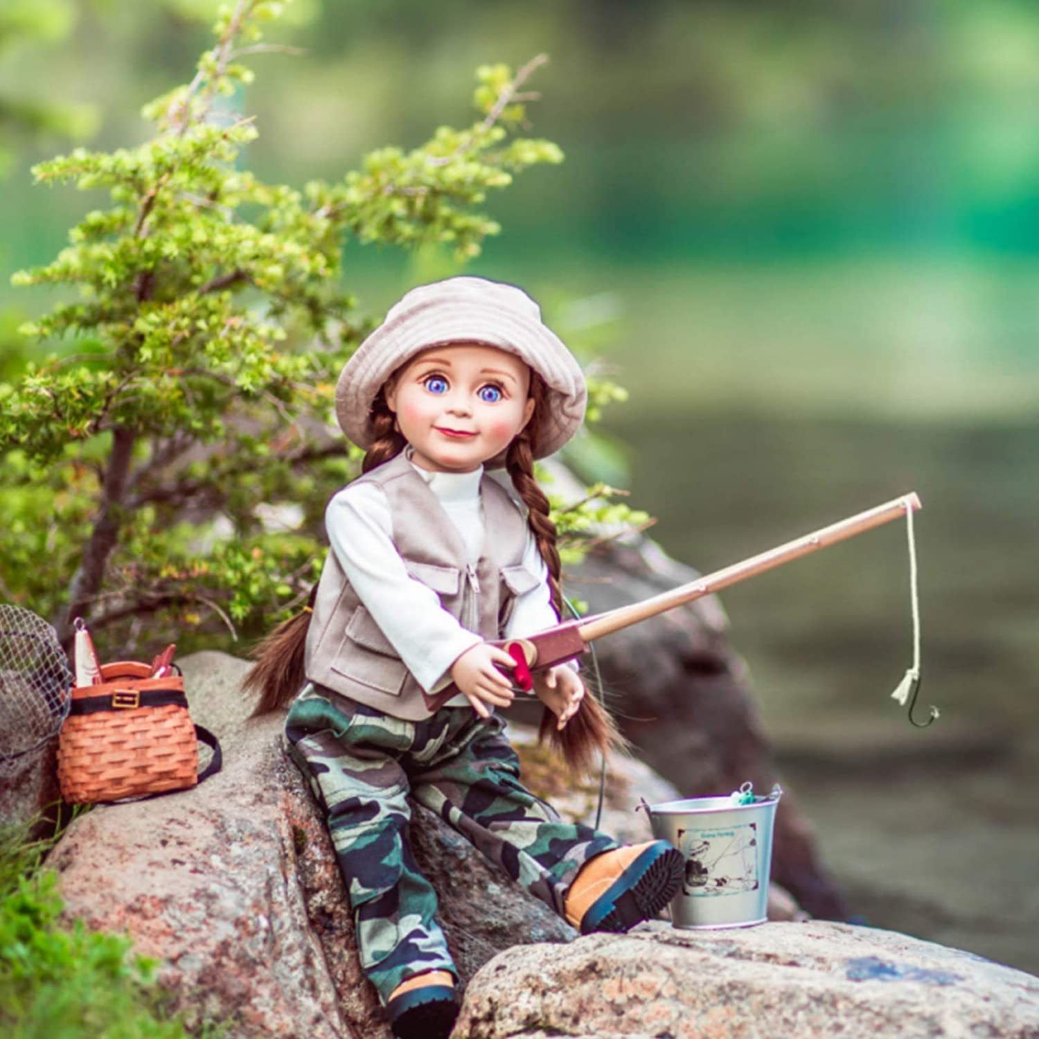 Vest Shirt 18 Inch Doll Fishing Outfit Fits American Girl Hat Pants