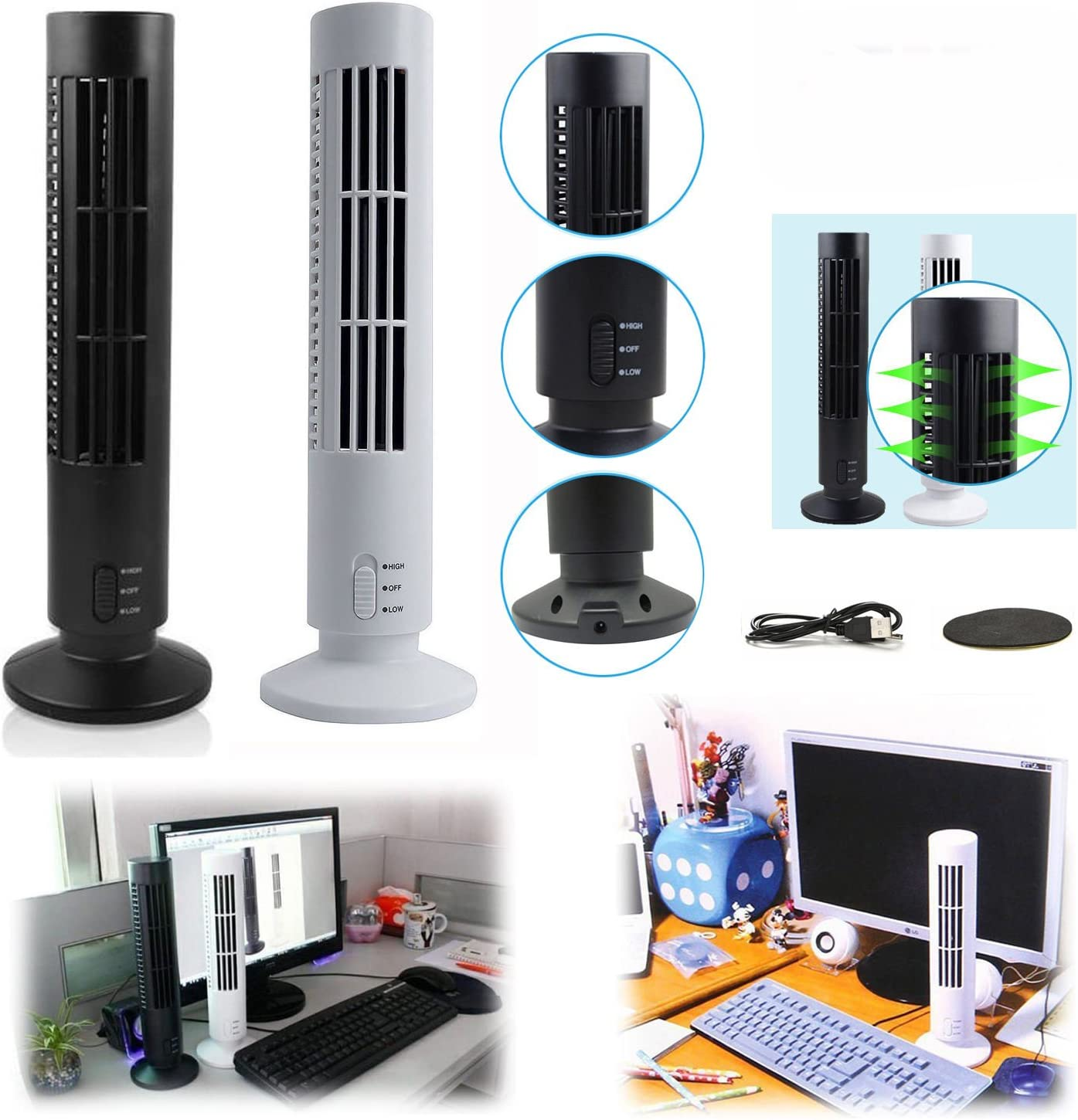 DishyKooker Portable USB Vertical Bladeless Fan Mini Air Condition Fan Desk Cooling Tower Fan for Home//Office White Practical Electronic Product