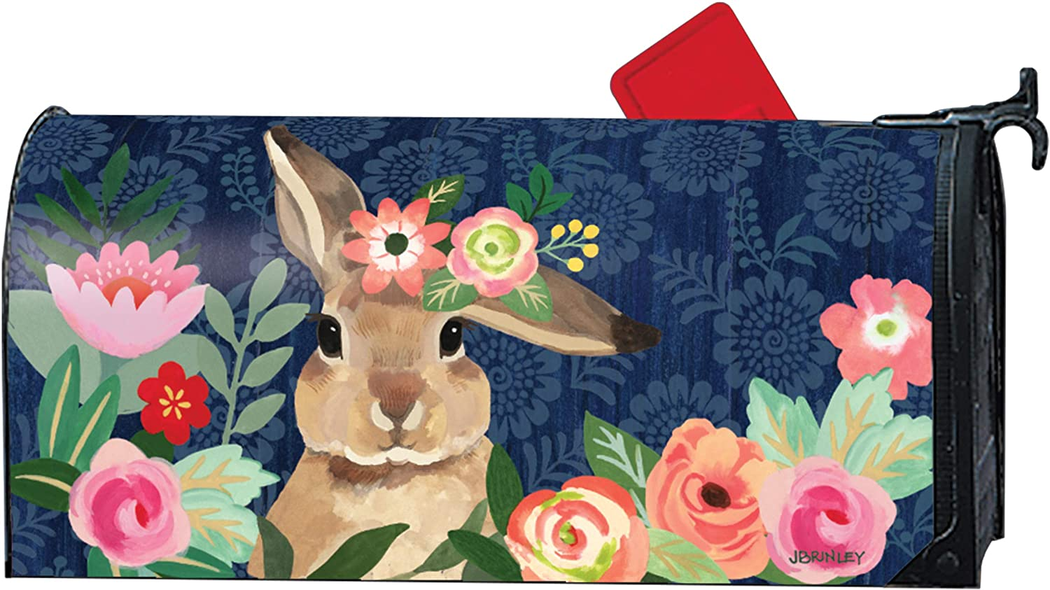 MailWraps Studio M Bunny Bliss Decorative, The Original Magnetic Mailbox Cover, Made in USA, Superior Weather Durability, Standard Size fits 6.5W x 19L Inch Mailbox