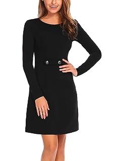 f2b3bdcaaa Zeagoo Women s Long Sleeve Fit and Flare Elegant Vintage A Line Mini Dress