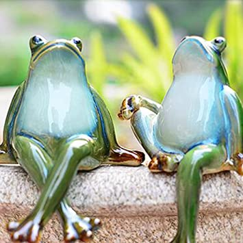 Lazy Puppy Garten Skulpturen Statuen Keramik Paar Frosch Garten