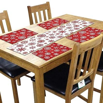 YaYa Cafe Christmas Decorations Table Runner Cloth Cover � Snowflake Xmas Table Mats - 1 Runner 4 Mats