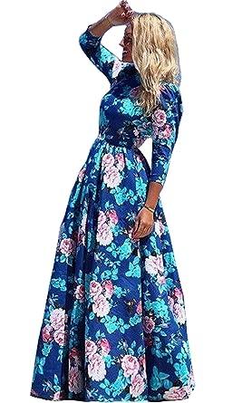 1e2b08f555d59a Damen Reizvolle Strandkleid Elegante 3/4-Arm Lange Kleid Boho Sommerkleid  Maxikleider: Amazon.de: Bekleidung