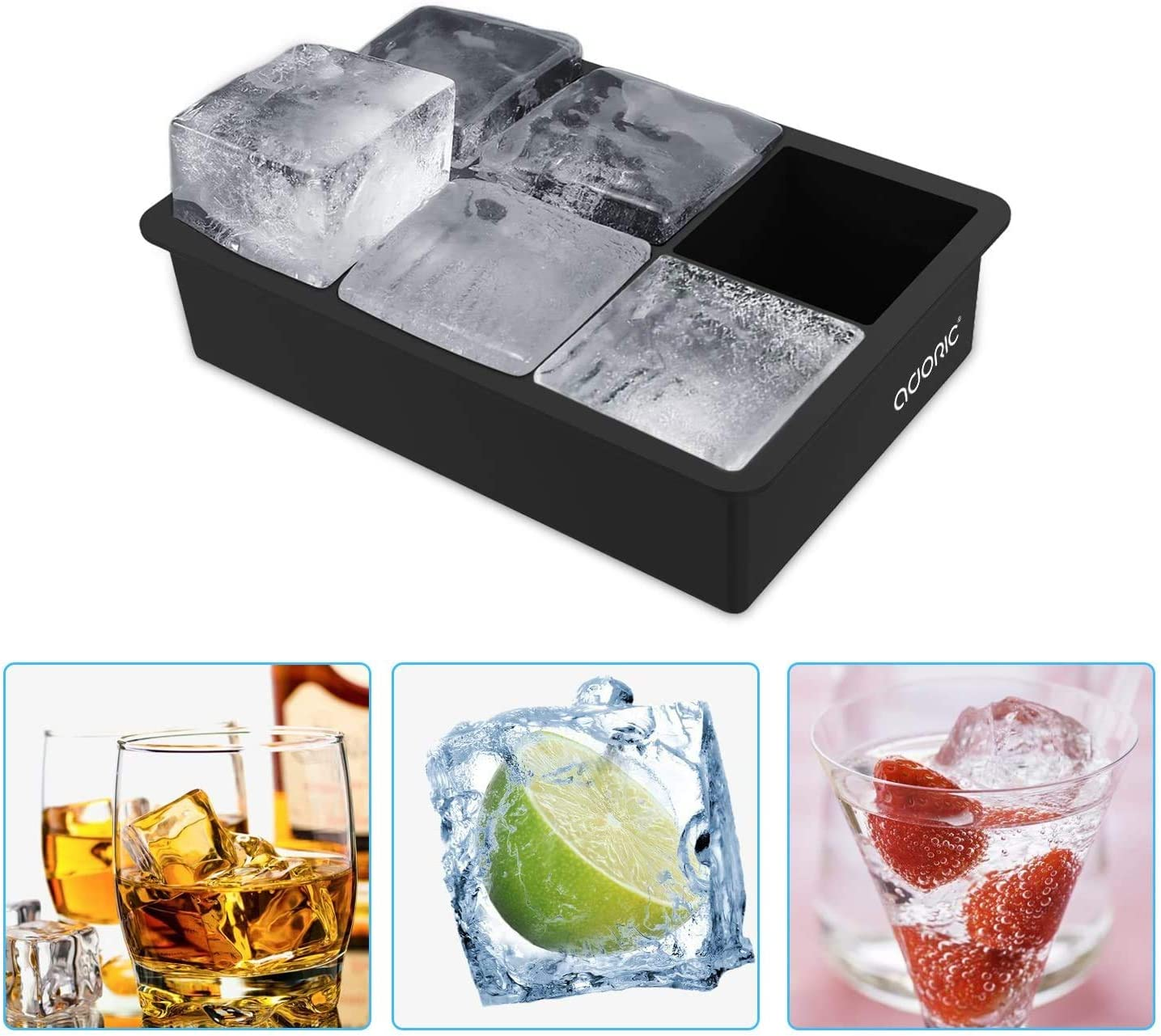 Adoric Ice Cube Trays Silicone Set of 2, Sphere Ice Ball Maker with Lid and Large Square Ice Cube Molds for Whiskey, Reusable and BPA Free (Ice Cube Trays Silicone Set of 2): Kitchen & Dining