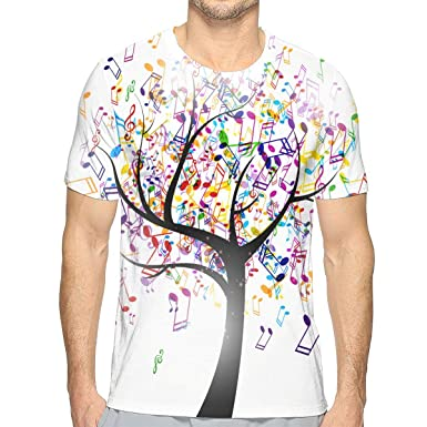 dbb19831d NICOKEE 3D T-Shirt, Colorful Musical Note Tree White Cool Graphic T Shirt  for Mens/Boys/Youth | Amazon.com