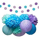 Mermaid Under The Sea Party Supplies Decorations Tissue Paper Pom Poms  Lantern Garland Kit For Baby