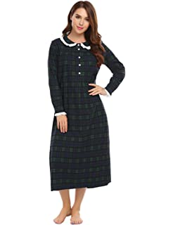 ff1027f576 Avidlove Womens Plaid Nightdress Classic Nightgown Long Sleeve Lace-Trim  Nightshirt