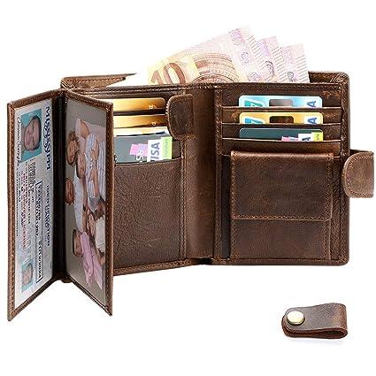 flintronic® Billetera de Cuero Genuino, Billetera Bifold Hombres, Monedero de Bloqueo RFID, Titular de la Tarjeta de Crédito con Coin Pocket | 14 * ...