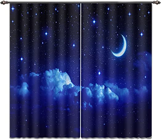 LB Night Sky Window Curtains for Bedroom Living Room Blue Sky Stars and Moon Teen Kids Room Darkening 3D Blackout Curtains Drapes 2 Panels Set,28 by 65 inch Length