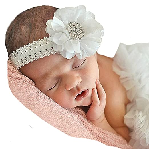 Amazon.com  Miugle Baby Baptism Headbands Baby Girl Christening ... daf7807f5ac