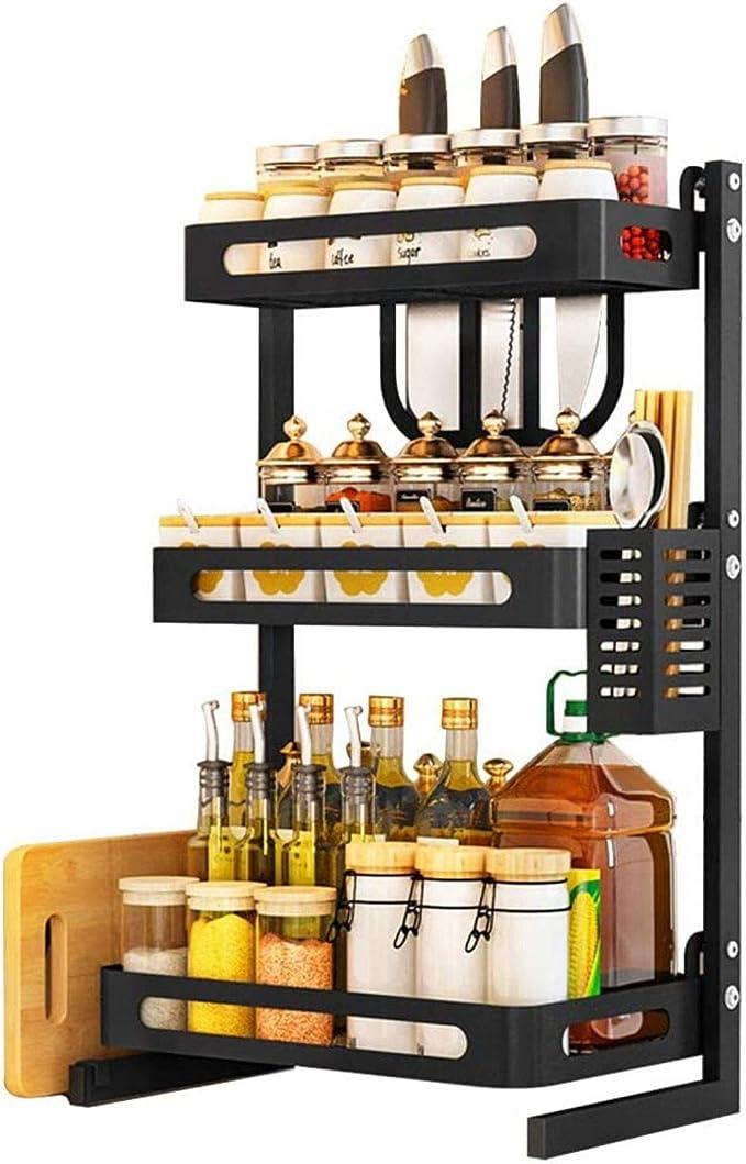 Multifuncional 3-Tier Estante Organizador Acero Inoxidable Vertical Estante De Almacenamiento para Encimera De Cocina,35cm WANGZI Especiero De Cocina