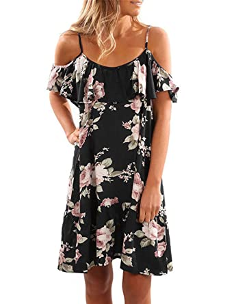 c89251131c4b9 Kbook Women's Cute Floral Cold Shoulder Ruffle Summer Beach Casual Strap  Mini Dress at Amazon Women's Clothing store: