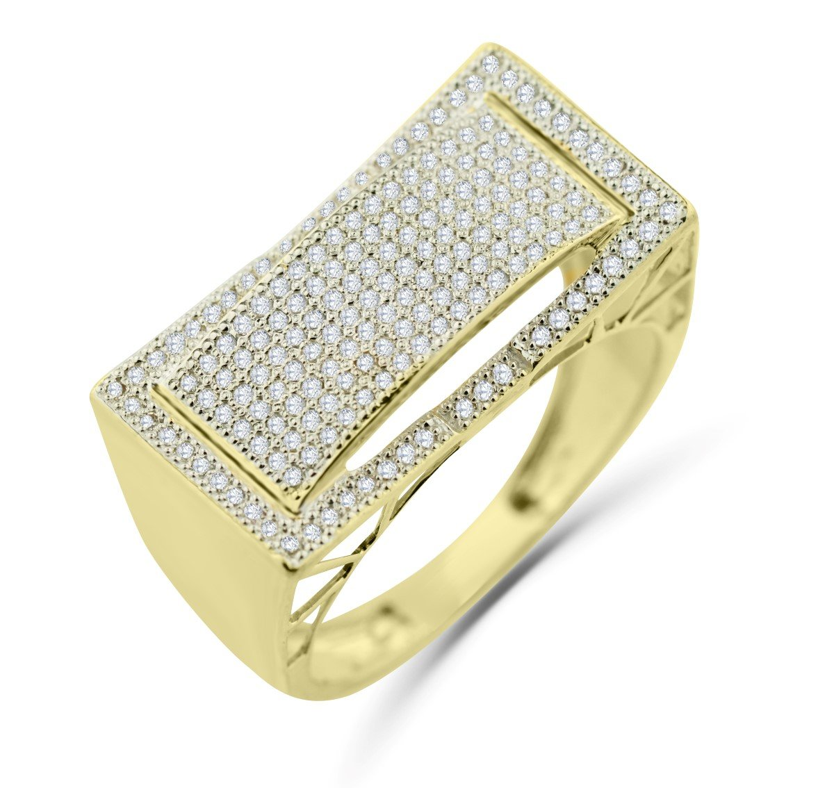 10K Gold Mens Ring Diamond Band Pinky or Fashion Ring Wide 12mm 1/2ctw Diamond