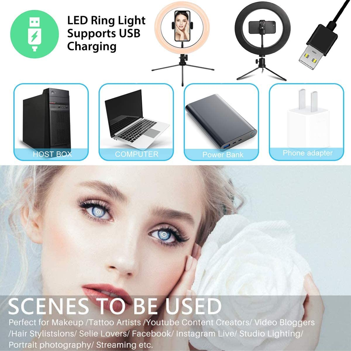 Selfie Ring Light 10 inches Cell Phone Holder Stand for Live Stream//Makeup with 3 Light Modes /& Best 10 Brightness Levels Dimmable LED Ring Light LED Camera Beauty Light RGB Ring Light