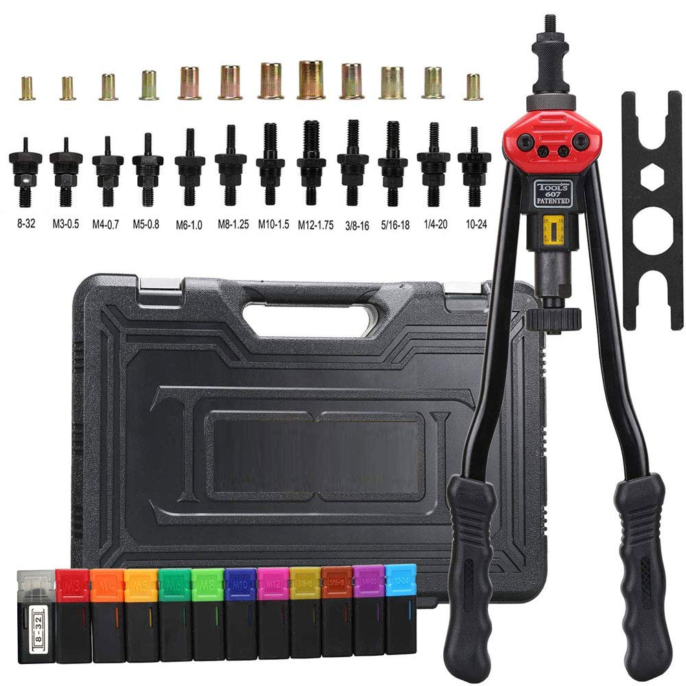 zision tool 16″Hand Riveter Rivet Gun professional installation kit Including 12 Interchangeable Mandrel(M3 M4 M5 M6 M8 M10 M12 SAE 10-24, 1/4-20, 5/16-18, 3/8-16,8-32)And 120 PCS Rivets Nuts by zision tool