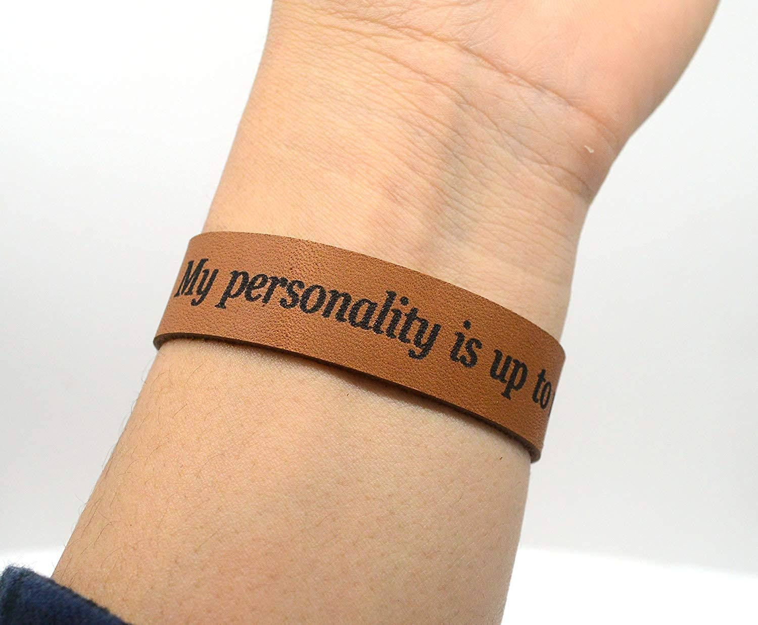 Lan Jin Art My Personality is up to me Bracelet Charm Personalized Jewelry Brown Leather Bracelet Personalized Gift