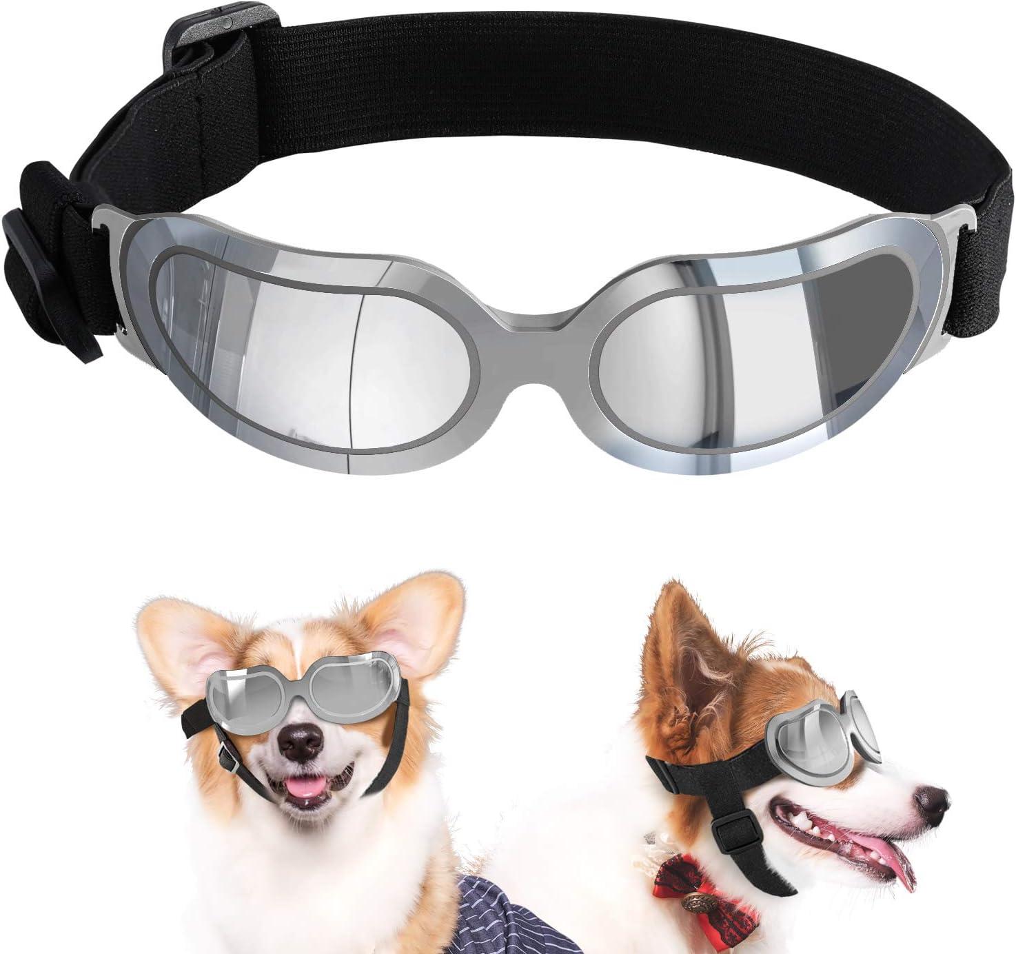 VavoPaw Gafas de Sol para Perros Pequeños, Anteojos Protectores Impermeables contra UV Viento Polvo con Lentes Claros Bandas Elásticas Ajustables para Coches Viajes Fiestas Cachorros Perritos, Plata