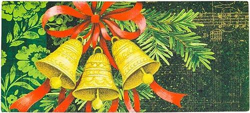 Seasonal, Easy-to-Clean, Evergreen Merry Christmas Holiday Bells Holiday Sassafras Mats