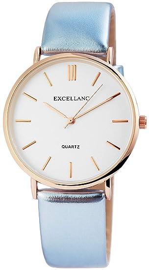 Reloj mujer piel blanco azul oro analógico de cuarzo reloj de pulsera