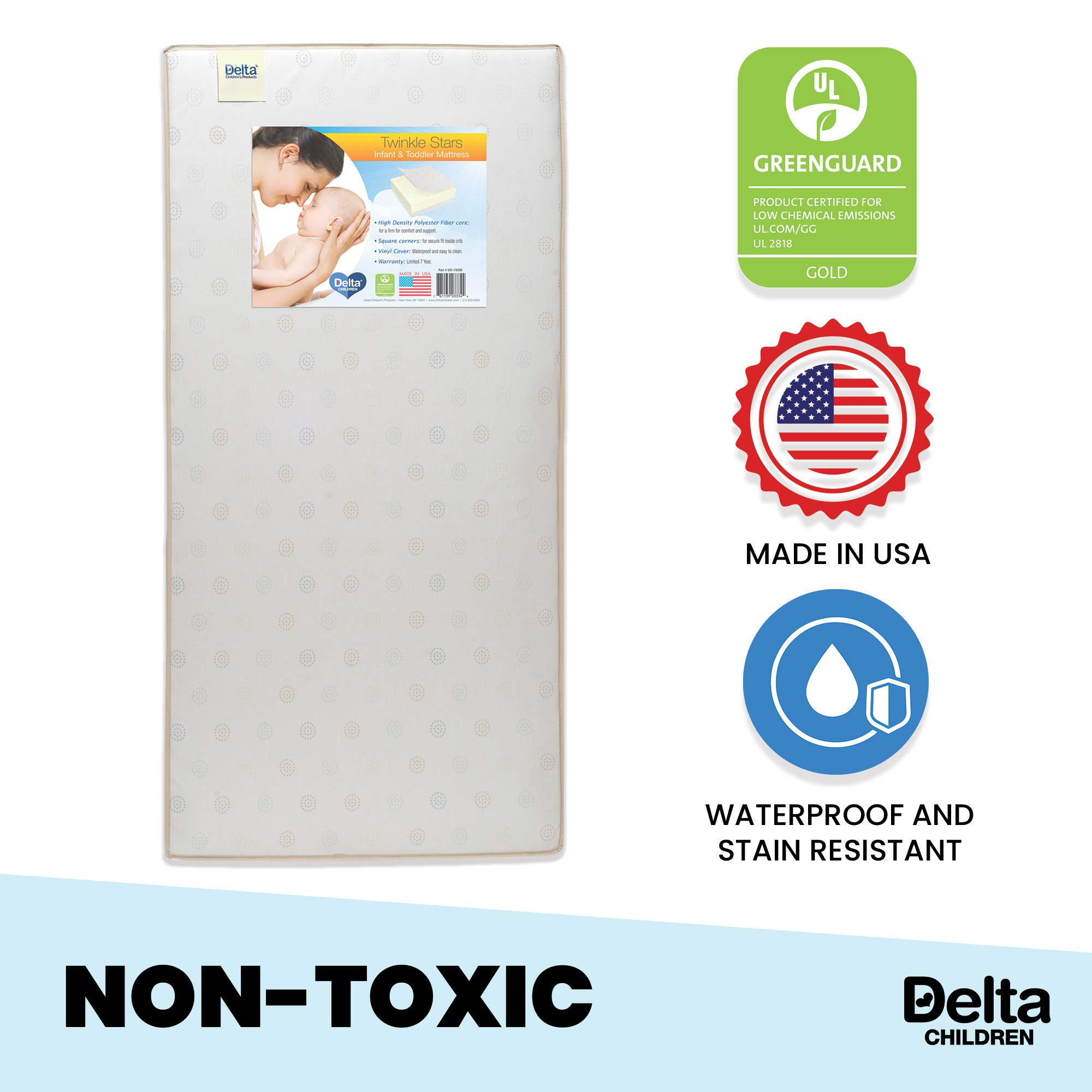 Delta Children Twinkle Stars Fiber Core Crib and Toddler Mattress | Waterproof | Lightweight | GREENGUARD Gold Certified (Natural/Non-Toxic) by Delta Children