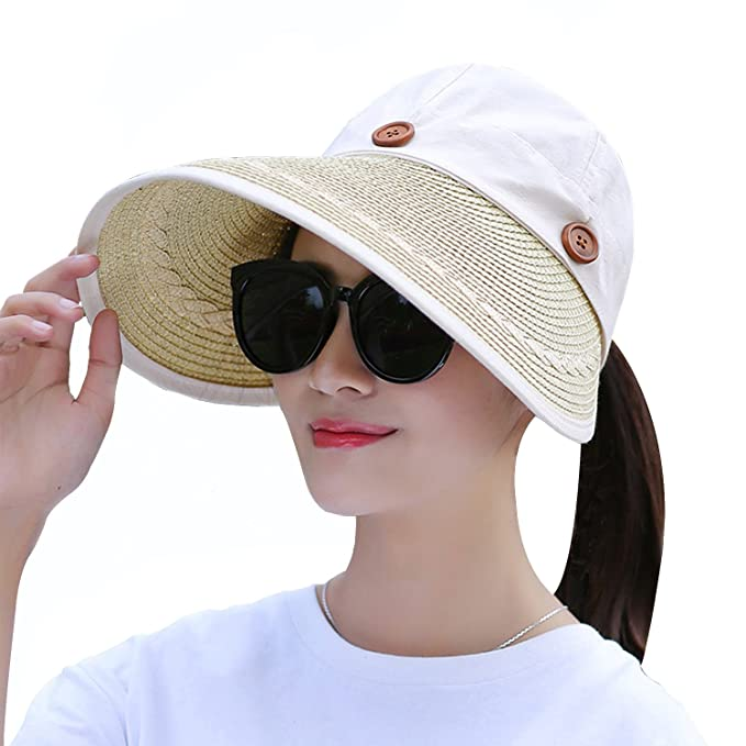 70cf6d60eb2ca Women s Wide Brim Floppy Caps Packable Straw Sun Hat Summer UV Protection  Hats with Chin Strap