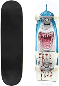 Classic Concave Skateboard Abstract Image of a Shark in The Form of a Starry Sky or Space, Longboard Maple Deck Extreme Sports and Outdoors Double Kick Trick for Beginners and Professionals