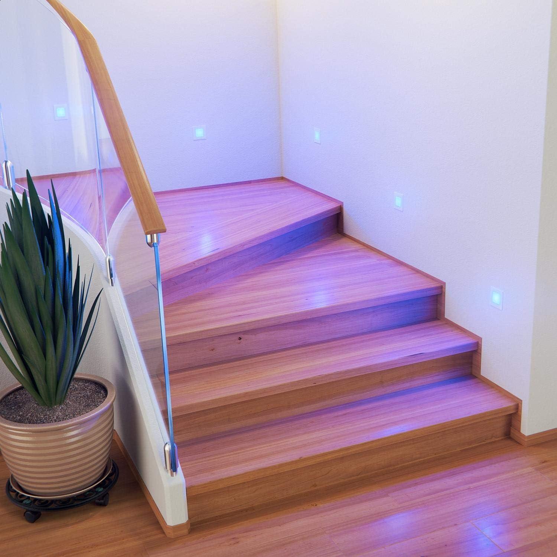 ledscom.de LED lámpara de Escalera FEX lámpara empotrable en la Pared, Blanca, Angular, 8,5x8,5cm, 230V, Azul, 10 UDS: Amazon.es: Electrónica
