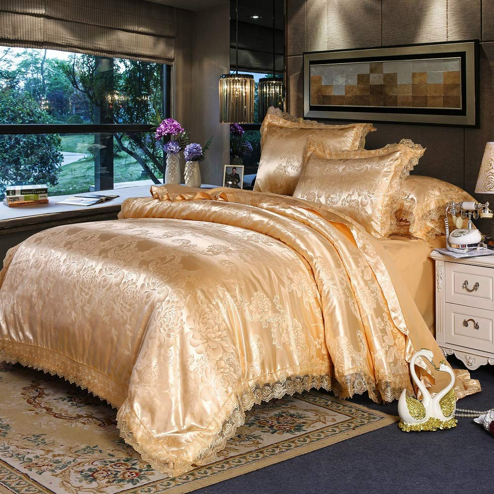 Buy PYCLIFE King Duvet Cover, Luxury Bedding, Lace 3-Piece Duvet Covers, Jacquard  Bedding Sets (Gold, King) Online at Low Prices in India - Amazon.in