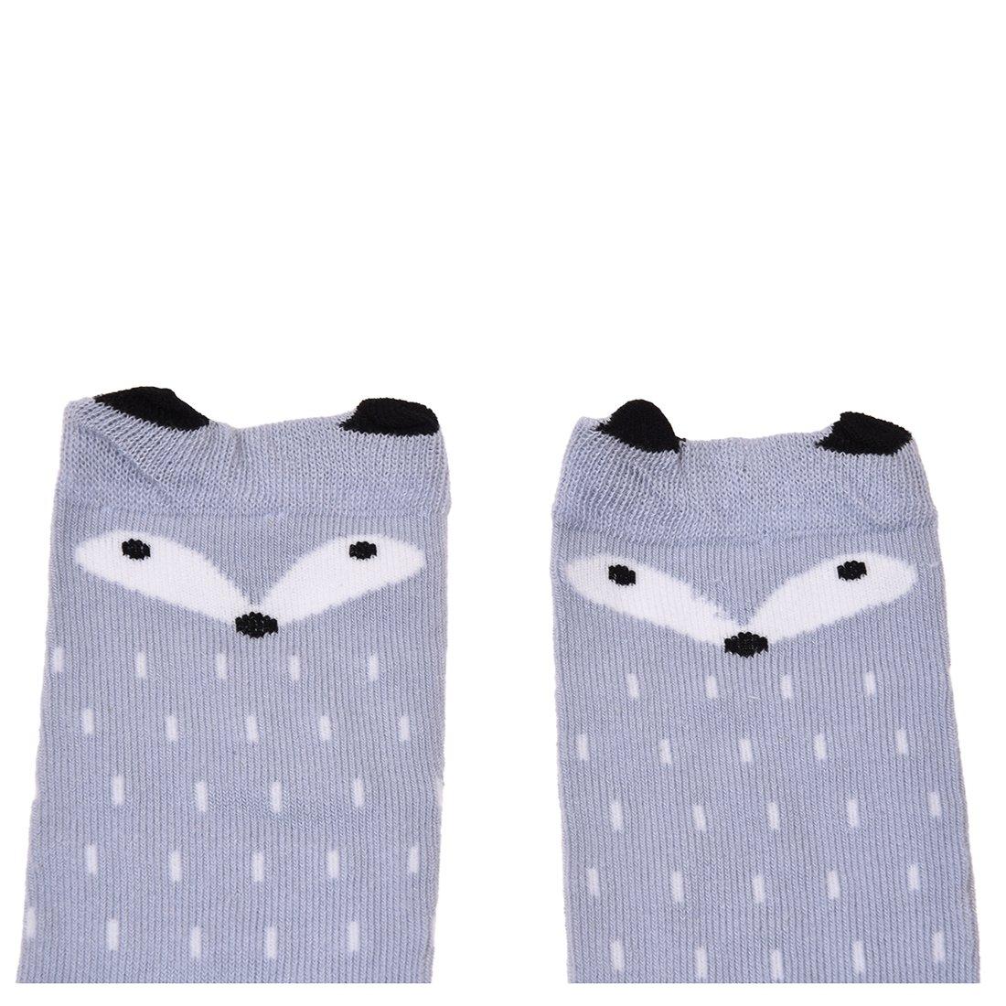 calcetines de los ninos - TOOGOO(R)Ninos Ninas Zorro Patron Rodillera calcetines altos para la edad de 0-1 anos (Gris, 24cm): Amazon.es: Ropa y accesorios