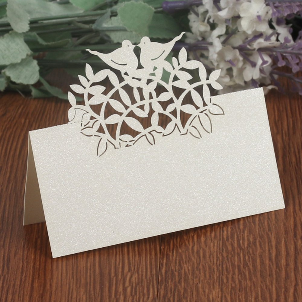 Tshin 50pcs Wedding Guest Name Place Cards Party Table Paper Numbers Card Escort Laser Cut Design For: Wedding Guest Table Cards At Reisefeber.org