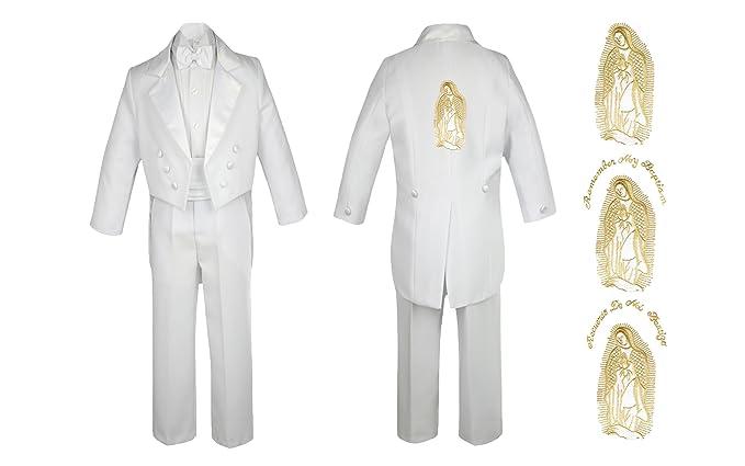 Amazon.com: Bebé niño bautizo Iglesia blanco cola traje Mary ...