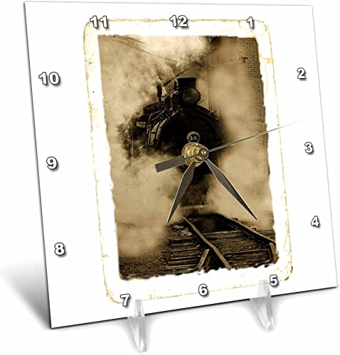 3dRose dc_154735_1 Sepia Train Engulfed in Clouds of Steam Desk Clock, 6 by 6-Inch