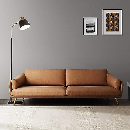 Acanva Mid-Century Modern Leather Sofa