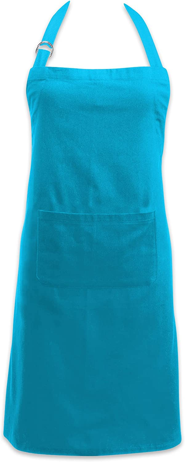 DII Adjustable Neck & Waist Ties with Front Pocket Chino Chef Collection, Apron, Neon Blue