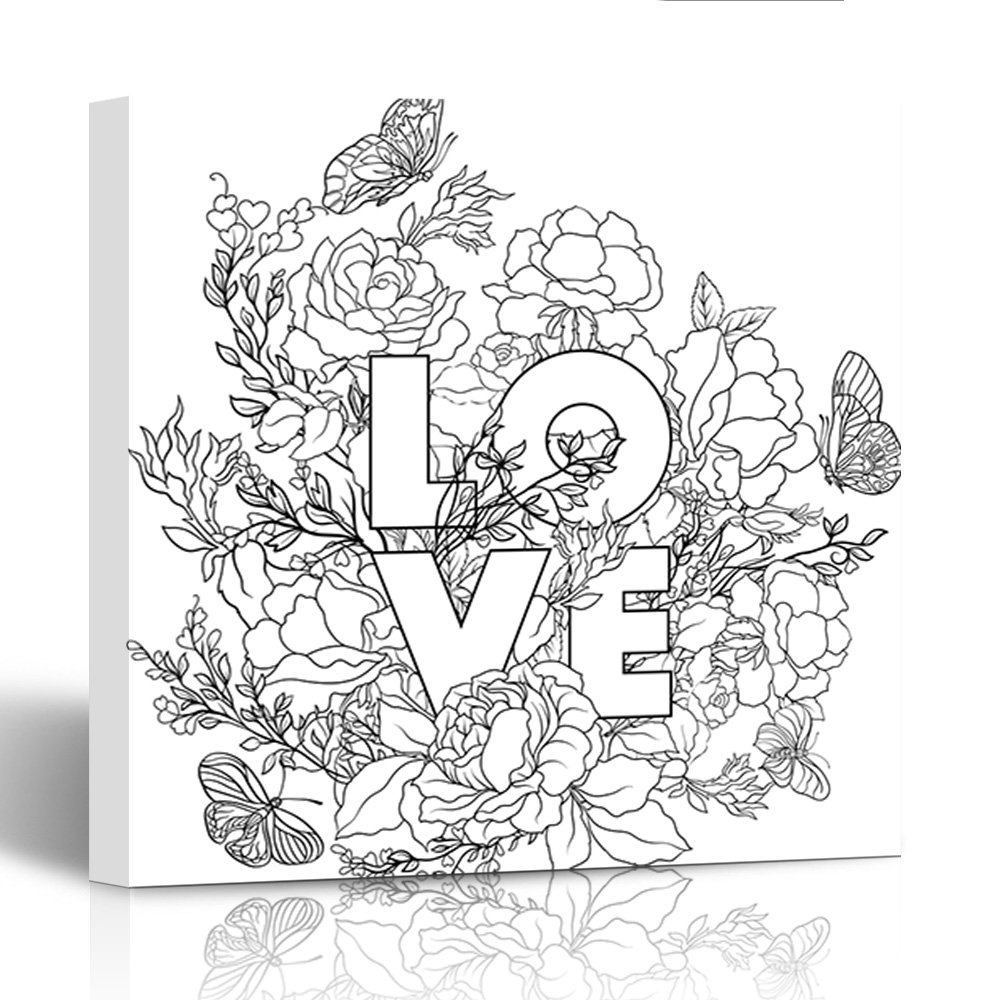 Amazon com emvency painting canvas print wooden frame rose flower with word love outline drawing coloring page book for adult 12x12 inches wall art