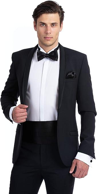 Details about  /New Tuxedo Black  Satin Bow Tie Matching Cummerbund and Clip on Suspenders