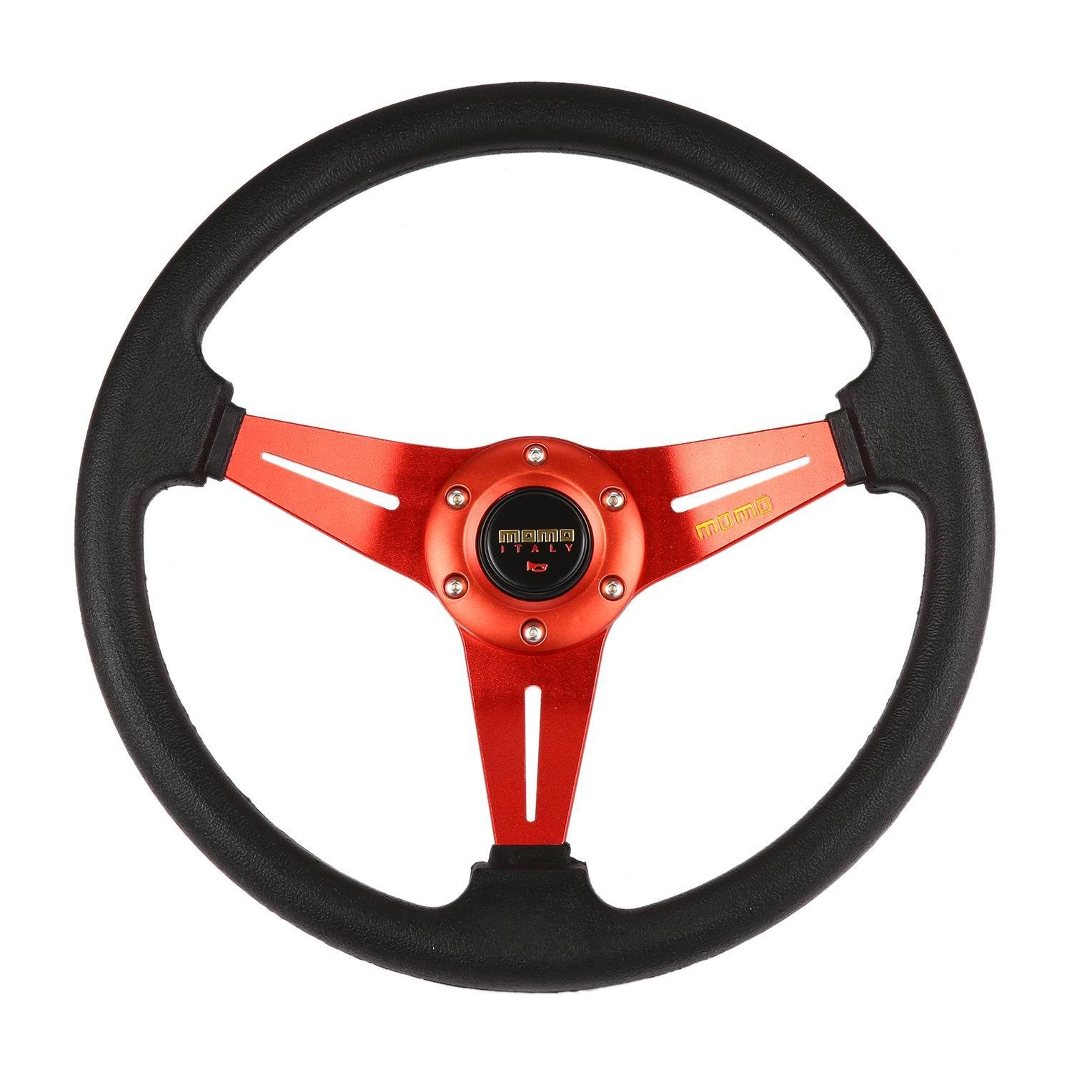 Fits Carbon Red Stitch 320MM Steering Wheel PVC Leather JDM 6 Bolt Hub Adapter