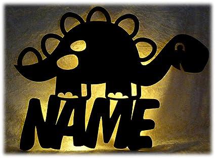Dinolampe Led Deko Kinder Wand Lampe Dino Mimmi Mit Name Geschenk Für  Dinosaurier Fans Kinderzimmer Junge