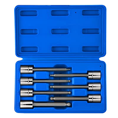 """Neiko 10243A 3/8"""" Drive Extra Long Ball End Hex Bit Socket Set, Metric, 3mm to 10mm   7-Piece Set, S2 and Cr-V Steel, 4-1/4 Inch Length: Home Improvement [5Bkhe0407802]"""