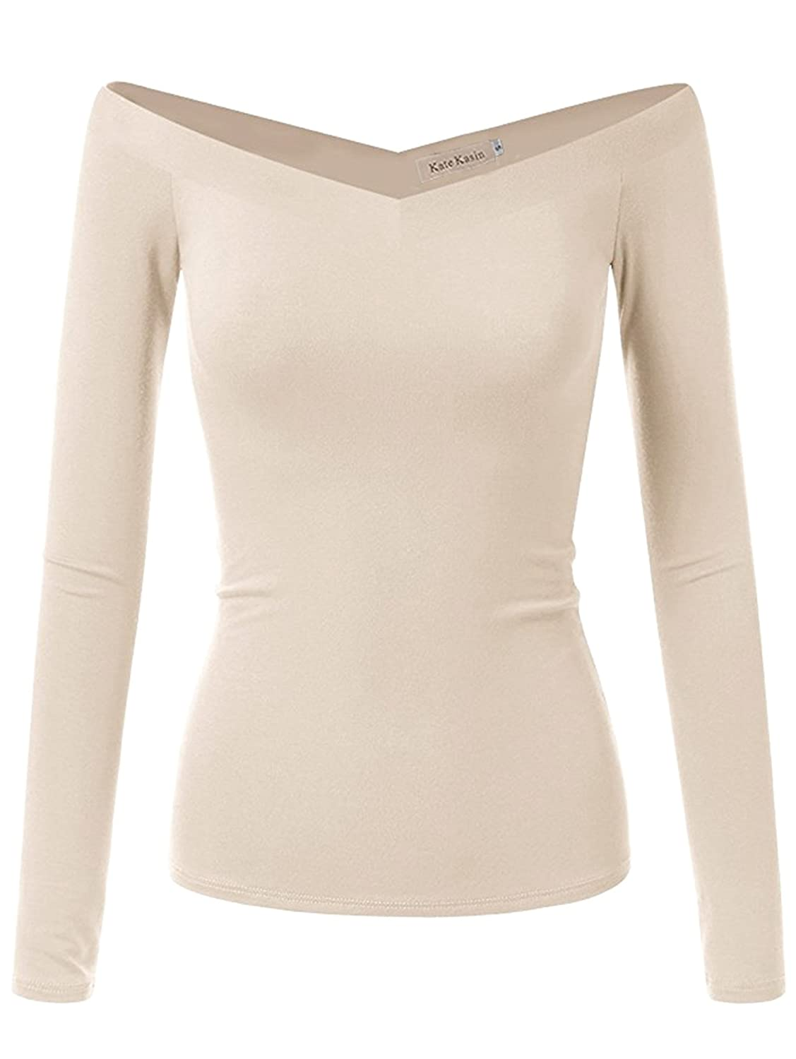 c0b35d0962c Off the shoulder fitted long sleeve crop top. It\'s cut from a stretchy &  lightweight fabric for a slim fit, super soft and comfortable, make you  sexy and ...