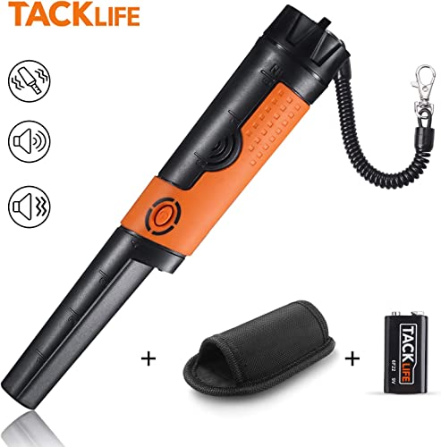 TACKLIFE Pinpointer Metal Detector Fully IP68 Waterproof with High Sensitivity, 9.8 Ft Underwater Measuring, Sound Vibration Indication, 360 Scanning, Holster Hanging Wire Battery Included -MPP01