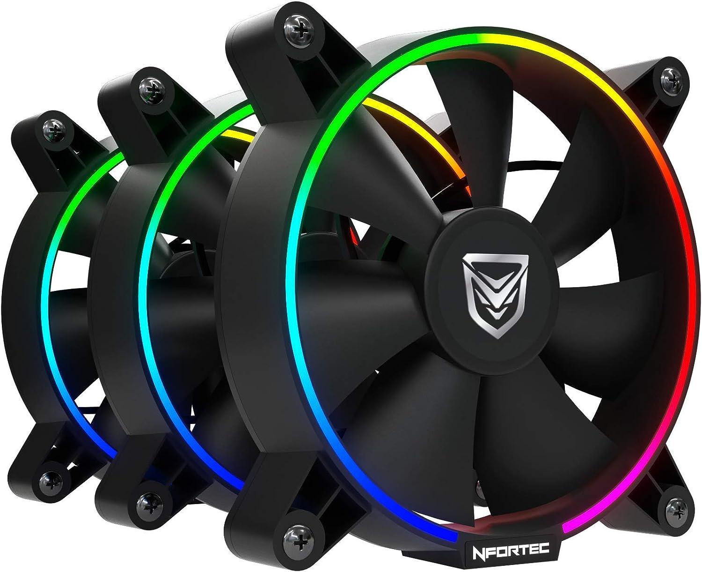 Nfortec Oberon Combo Ventiladores argb para Torre de pc con ciclos de iluminación RGB y bajo Nivel sonoro (Incluye una controladora RGB Compatible y Tres Ventiladores).