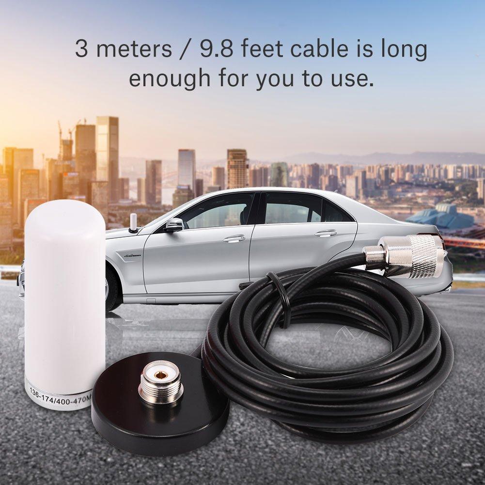 White VBESTLIFE Antenna Radio Mobile VHF//UHF Dual Band con Cavo di Base per Montaggio Magnetico
