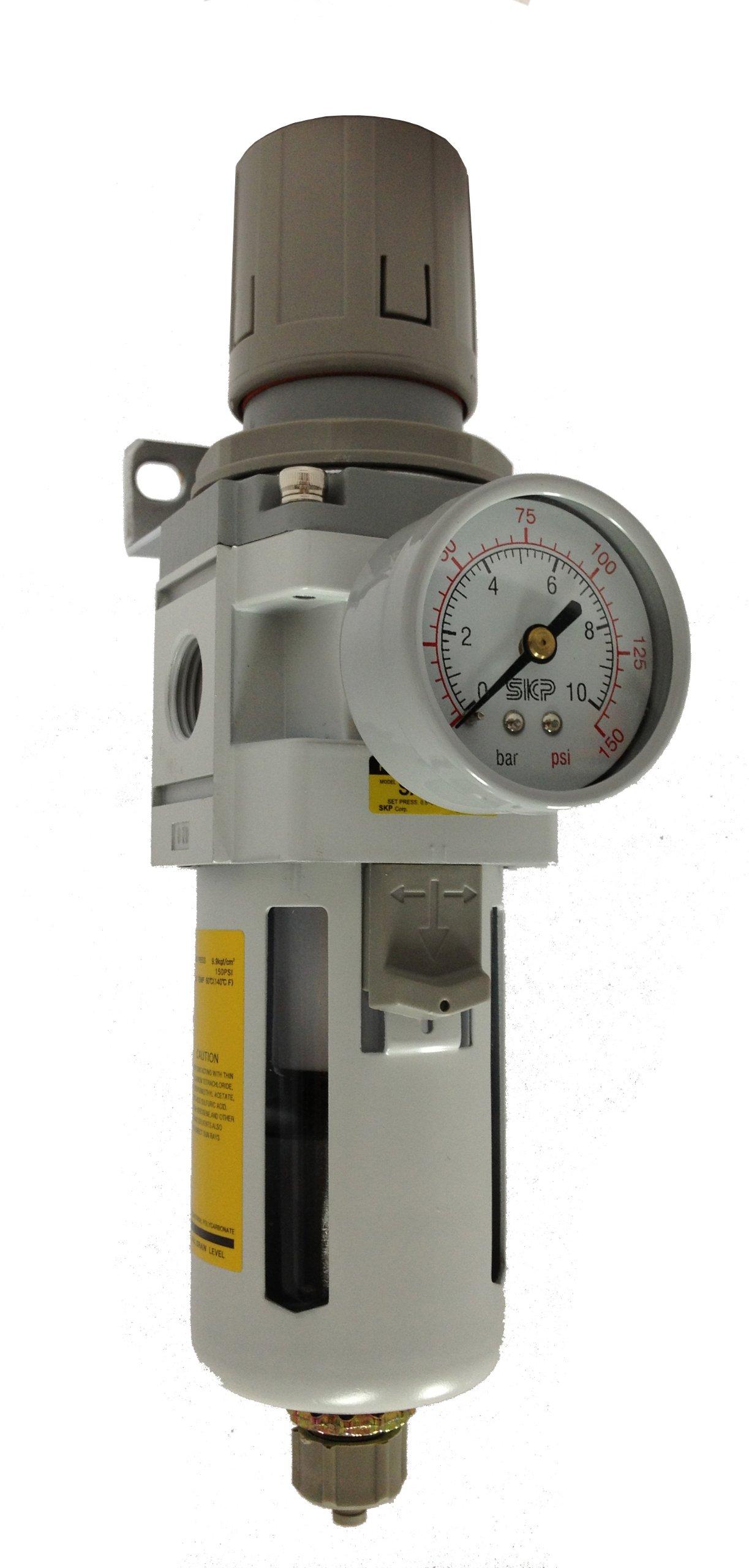 PneumaticPlus SAW3000M-N03BG Air Filter Regulator Combo Piggyback, 3/8'' Pipe Size, NPT-Manual Drain, Poly Bowl with Gauge by PneumaticPlus
