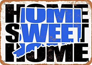 Home Sweet Home Connecticut Blue Vintage Look Aluminum Metal Sign for Garage Decor Easy to Mount Indoor & Outdoor Use