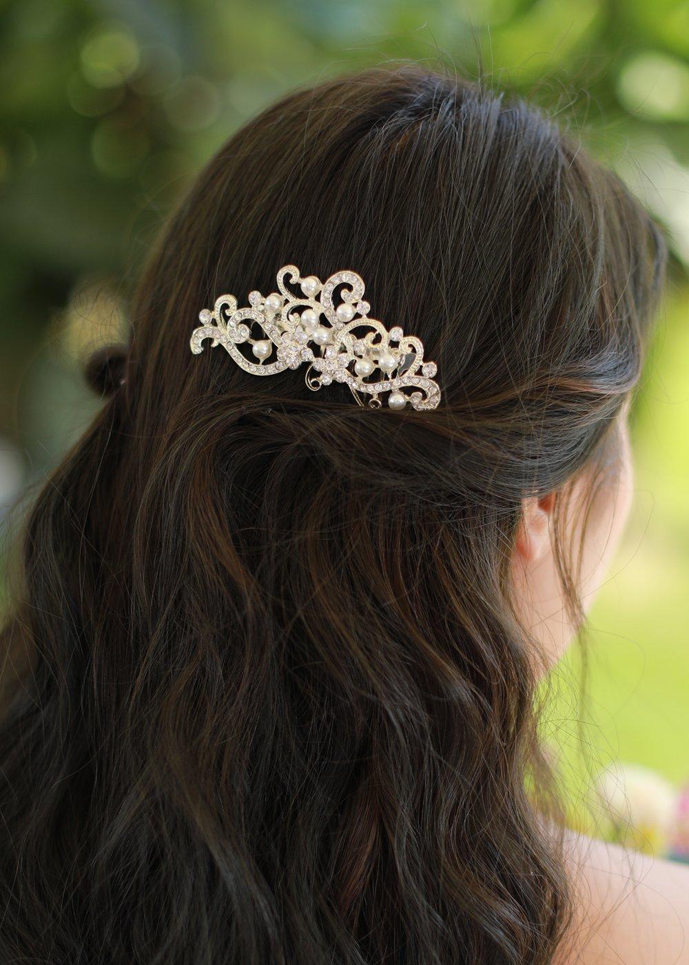 00ea623c1db Amazon.com  Missgrace Rhinestone Jewelry Comb Bridal Headpiece Hair Clip  Women Hair Accessories(Gold)  Beauty