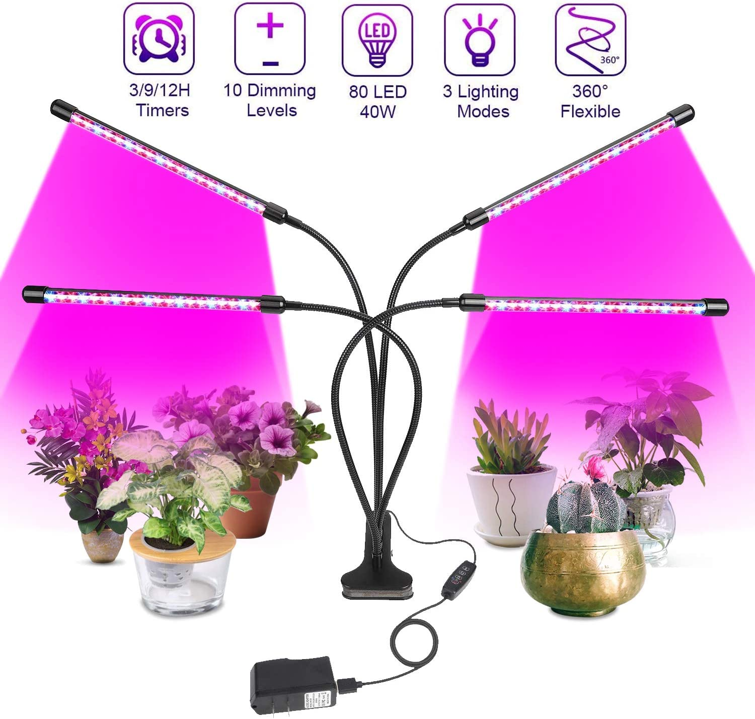 Grow Light, Plant Lights for Indoor Plants, Auto ON&Off Full Spectrum Plant Lights, with 3/9/12 H Timer, 10 Dimmable Lightness Full Spectrum Led Plant Growing Lamps