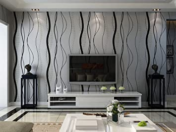 Modern Abstract Style Wavy Lines Black Ripples 3D Textured Wallpaper    Silver Grey, 33u0027 Part 40