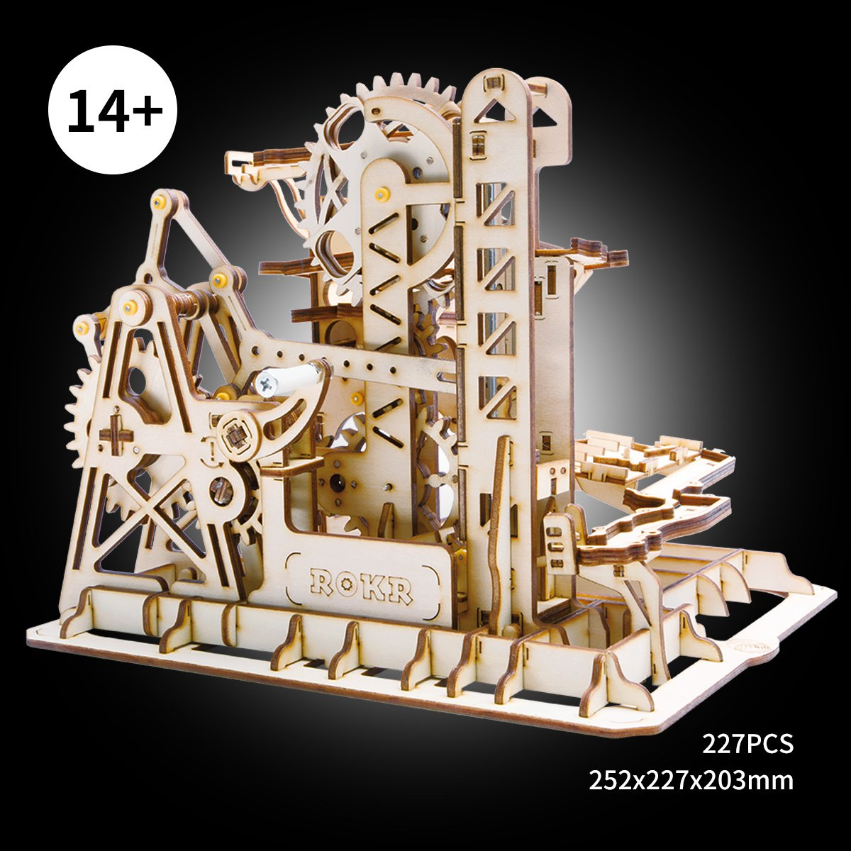 ROBOTIME 3D Wooden Puzzle Brain Teaser Toys Mechanical Gears Kit Unique Craft Kits Tower Coaster with Steel Balls Executive Desk Toys Best Gifts for Adults and Kids by ROBOTIME (Image #2)