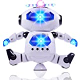 Alagoo Electronic Toy Robot Walking Dancing Singing Robot with Musical and Colorful Flashing Lights 360° Body Spinning Robot Toy Gift for Kids, Boys, Girls (White)